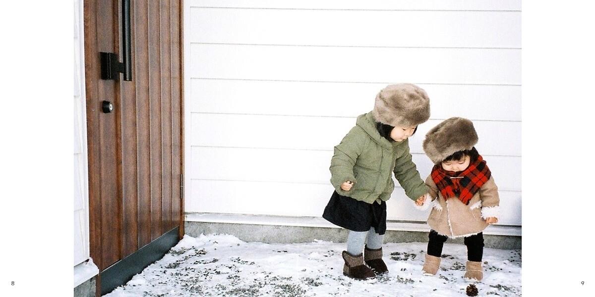 兄弟で仲良く雪遊び